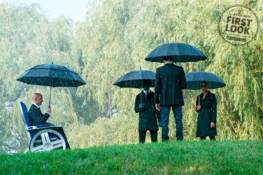 X-Men: Dark Phoenix Charles Xavier (James McAvoy), Nightcrawler (Kodi Smit-McPhee), Cyclops (Tye Sheridan, back to camera), and Storm (Alexandra Shipp)